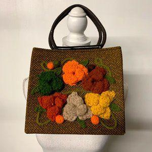 Vintage 70s Floral Boho Hippy Crochet Handbag